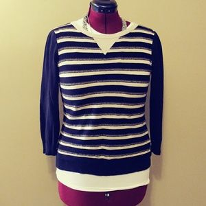 CABLE&GAUGE TEXTURED CREAM AND BLACK SWEATER